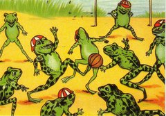 'The Football Match' Vintage Frog Greeting Card Repro. Illustration by Louis Wain.