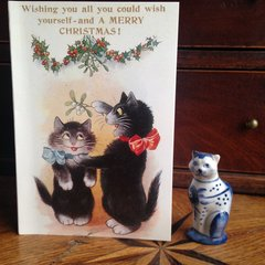£1 Christmas Card!!! 'A Christmas Wish' Vintage Black Cat and Mistletoe Greeting Card Repro.