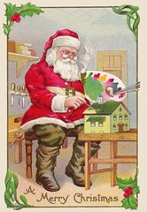 'Finishing Touches' Colourful Christmas Card with Santa Painting a Dolls' House