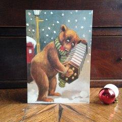 £1 Christmas Card!!! 'The Accordion Player' Vintage Bear Christmas Card Repro.