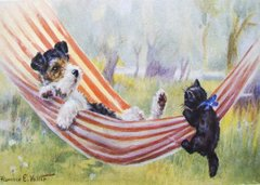 'Nap Interrupted' Vintage Dog and Cat Illustration Greeting Card Repro