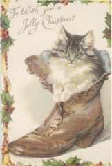 Puss in Boots Adorable Vintage Christmas Card Repro
