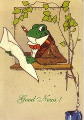 'Good News!' Vintage Frog Announcement Card