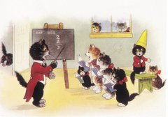 £1 Card!!! 'Cats in Class' Sweet Vintage Cat School illustration Greeting Card. Good Card For Teacher!