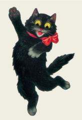 """Hi There!"" Glorious Vintage Black Cat Greeting Card Repro"