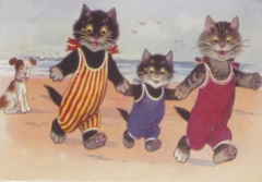£1 Card!!! 'A Stroll on the Sand' Vintage Cat Greeting Card Repro. Beach Holiday.