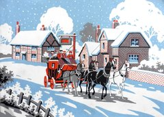 Heading Home Vintage Christmas Card Repro with a Traditional Festive Scene.
