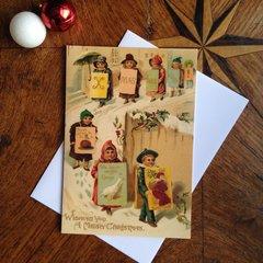£1 Christmas Card!!! 'The Christmas Parade' Traditional Victorian Christmas Card Repro
