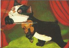 £1 Card!!! 'The Great Violinist' Fantastic Vintage Cat illustration Greeting Card. Music.