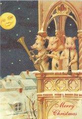 The Christmas Trio Vintage Pig Christmas Illustration Greeting Card