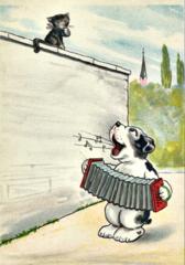 'A Doggone Good Tune' Fun Dog Greeting Card Vintage Repro