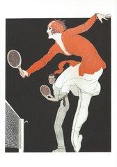 'Easy Winner' Elegant Art Deco Greeting Card with Fashion Illustration of International Tennis Star Suzanne Lenglen