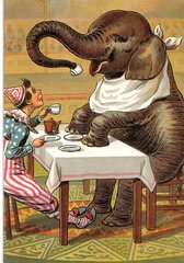 'Tea For Two' Unusual Elephant and Clown Vintage Greeting Card Repro