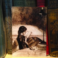 'Reading By Lamplight' Vintage Whistler Illustration Greeting Card