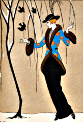 'Three Blackbirds' Stunning Art Deco Barbier Illustration Greeting Card