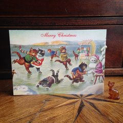 £1 Christmas Card!!! 'The Skaters' Vintage Cat Christmas Card Repro.