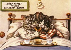 Cats Breakfast in Bed. Sweet Vintage Image Greeting Card.