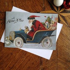 £1 Christmas Card!!! 'Speedy Santa' Fun Vintage Santa Christmas Card Repro