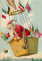 'Around The World' Wonderful Christmas Card of Santa in a Hot Air Balloon.