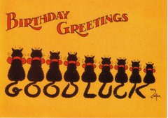 The Good Luck Cats. Black Cat Vintage Birthday Card Repro
