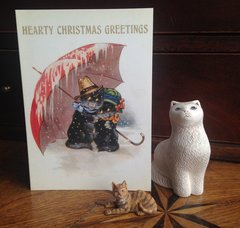£1 Christmas Card!!! 'Hearty Christmas Greetings' Vintage Black Cat Greeting Card Repro.