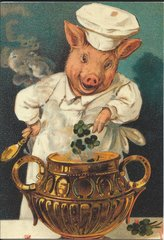 Pig Chef Unusual Good Luck Greeting Card