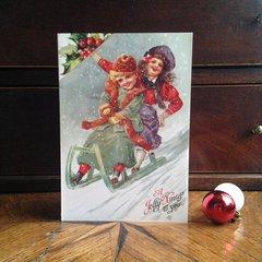 £1 Christmas Card!!! 'Winter Fun' Traditional Victorian Christmas Card Repro