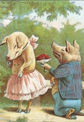 Romantic Pig Proposal Vintage Greeting Card Reproduction