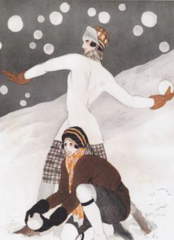 Snowballs Fly Art Deco Vintage Christmas Card Repro