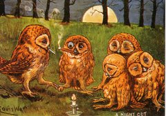 'A Night Out' Vintage Owl Greeting Card Repro. Illustration by Louis Wain.
