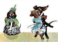 £1 Card!!! 'Chaperoning the Charleston' Vintage Dachshund Greeting Card Repro.