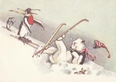 'Taking a Tumble' Fun Christmas Card with Polar Bear and Penguin