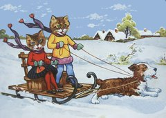 'Winter Express' Bright Christmas Card with Cats Being Pulled by a Dog