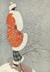 'Snow Buntings' Stylish Art Deco Christmas Card