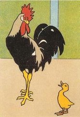 Bold and Colourful Cock and Chick Vintage Greeting Card Reproduction