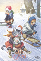'And They're Off!' Lots of Fun Cat Christmas Card