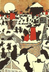 'Cats' Christmas Capers' Bold Vintage Black Cat Christmas Card Repro