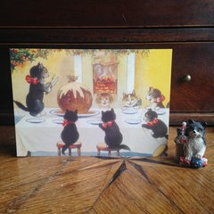 £1 Christmas Card!!! 'The Enormous Christmas Pudding' Vintage Black Cat Greeting Card Repro.