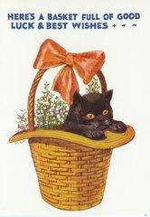 £1 Card!!! 'Black Kitten in Basket' Vintage Cat illustration Good Luck Card. Greeting.
