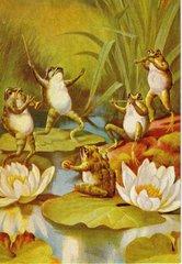 'The Quartet' Fun Vintage Frog Greeting Card featuring a Frog Quartet!