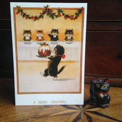 £1 Christmas Card!!! 'Bringing in the Christmas Pudding' Vintage Black Cat Greeting Card Repro.