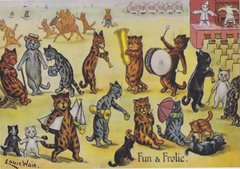 'Fun and Frolic' Greeting Card with Cat Illustration by Louis Wain