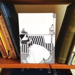 'A Beardsley Lady Reading' Vintage Illustration Greeting Card