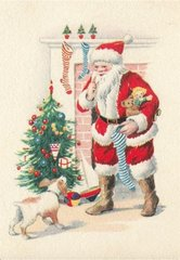 'Be Quiet' Christmas Card with Santa Shushing a Little Dog