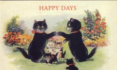 £1 Card!!! 'Happy Days' Lovely Vintage Black Cat Family Greeting Card Repro.