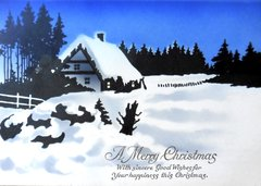 Sky Blue Winter Vintage Christmas Card Repro with a Country Snow Scene.