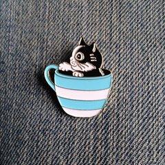 Kitten in a Teacup! Enamel Pin Badge of Cute Cat in a Teacup. Inspired by Louis Wain.