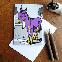 Purple Donkey Greeting Card for the Offbeat and Unconventional Person in your Life
