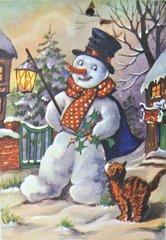 'Christmas Curiosity' Snowman and Cat Christmas Card
