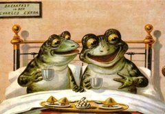 'Breakfast in Bed' Funny Vintage Frog Greeting Card Repro
